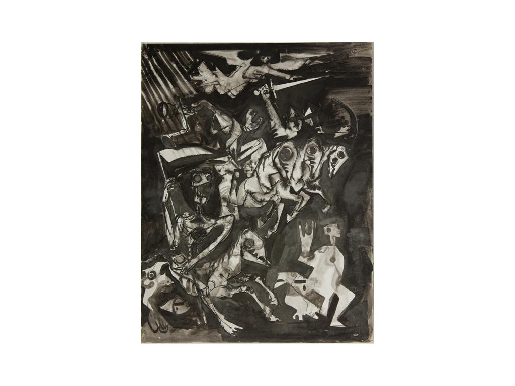 Günter Hildebrand, Apokalyptische Reiter, Tusche, 1955