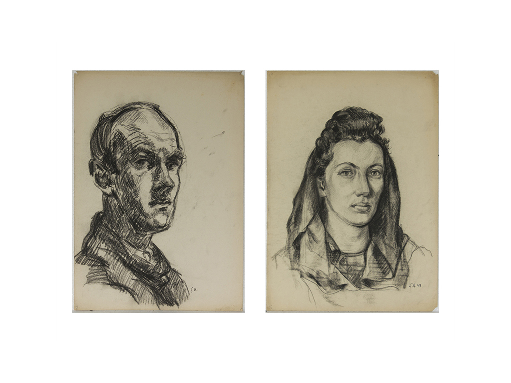 Günter Hildebrand, Selbstportrait, Kohle, 1946-50 (links), Portrait einer Frau, Kohle, 1947 (rechts)