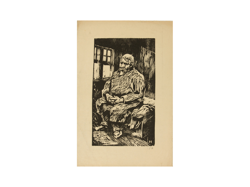 Günter Hildebrand, Sitzender Mann, Holzschnitt, 1936