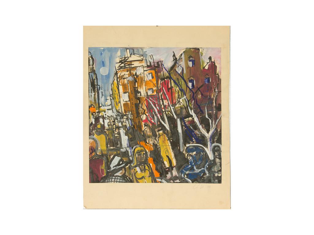 Günter Hildebrand, Straßenszene Paris, Tempera und Tusche, 1948