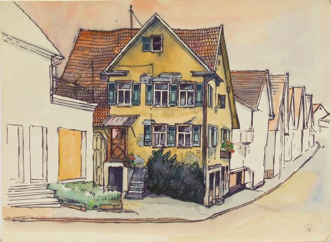Günter Hildebrand, Häuser an der Dorfstraße, Aquarell über Faserstift auf Papier, undatiert