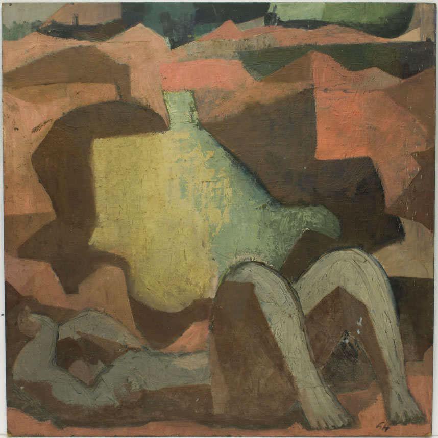 Günter Hildebrand, Liegende am Baggersee, Öl, 1956-69