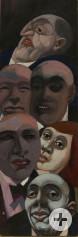 Günter Hildebrand, Portraitköpfe, Tempera und Öl auf Leimholzplatte, undatiert