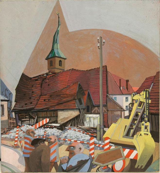 Günter Hildebrand, Dorfkernsanierung, Tempera auf Leimholzplatte, 1979-84