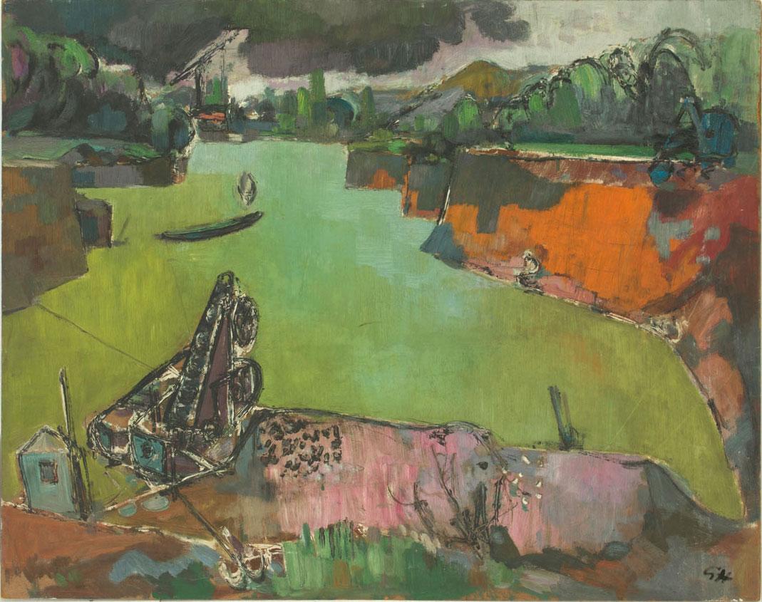 Günter Hildebrand, Baggersee, Öl auf Hartfaserplatte, 1956-62
