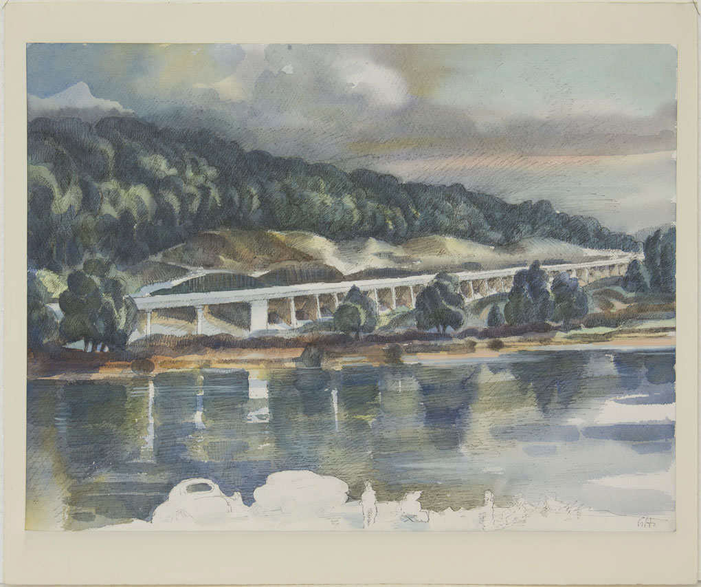 Günter Hildebrand, Bundesstraße B27, Aquarell über Tuschestift auf Aquarellpapier, nach 1984